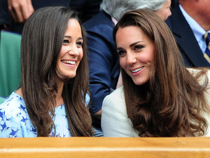 The Duchess of Cambridge and Pippa Middleton in the Royal Box during the Wimbledon Men&#39;s Final.