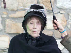 Dame Diana Rigg BBC One series sci fi series 'Doctor Who' shoots in Butetown Rhymney, Wales