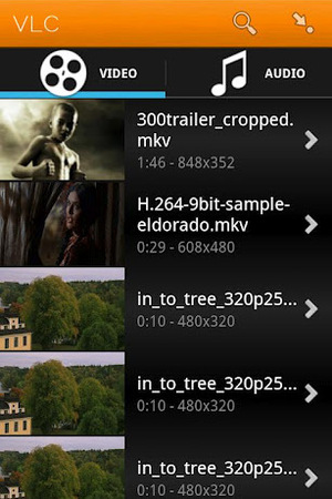 Screenshot of the VLC beta Android app