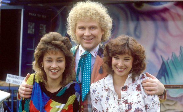 Colin Baker as Dr Who with Nicola Bryant and Janet Fielding
