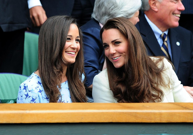 The Duchess of Cambridge and Pippa Middleton in the Royal Box during the Wimbledon Men's Final.