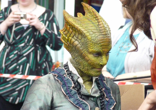 Neve McIntosh as Madame Vastra the Silurian on the set of Doctor Who