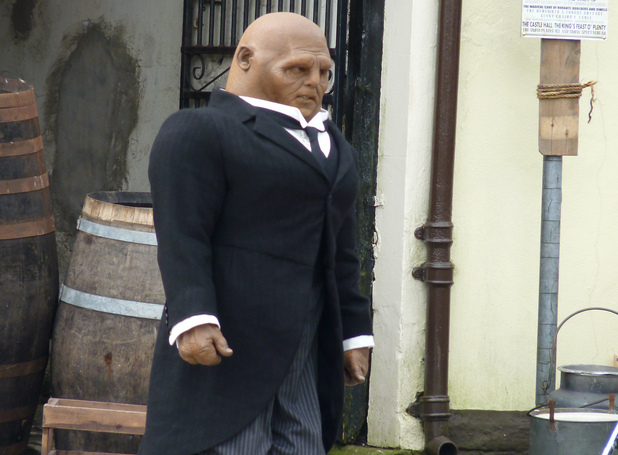 Dan Starkey as a Sontaran butler on the set of Doctor Who