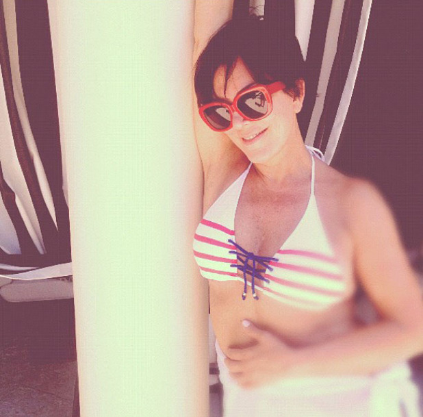 Kylie Jenner posted this image of her mother Kris Jenner in a bikini on Twitter with the caption