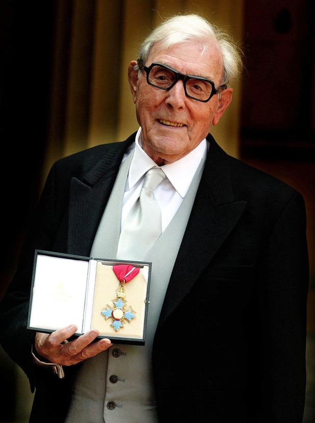 Veteran comic actor Eric Sykes after receiving his CBE from the Queen at today's Buckingham Palace investiture