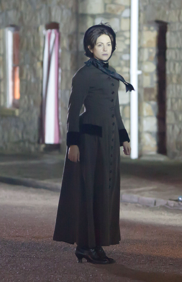 Rachael Stirling on the set of the BBC's Doctor Who TV series Wales