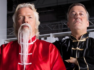 Stephen Fry and Sir Richard Branson on the set of Virgin Media's new TiVo ad