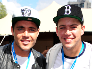 Tom Pearce, James Diags attend the Barclaycard Unwind Lounge at the O2 Wireless festival