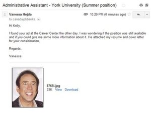 Jobseeker Attaches Picture Of Nicolas Cage Instead Of CV On Application Email