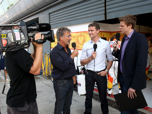 Jake Humphrey with David Coulthard and Eddie Jordan at a Formula One grand prix
