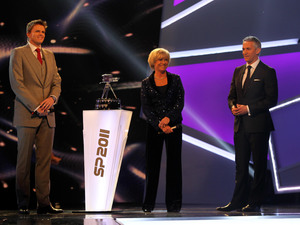 Jake Humphrey, Sue Barker and Gary Lineker (right) during the BBC Sports Personality of the Year awards ceremony at MediaCityUK, Salford.