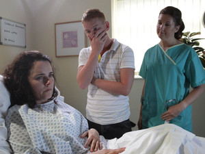 A gutted Izzy tells Gary that she has had a miscarriage