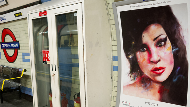 Tribute to the late Amy Winehouse by Johan Andersson at Camden underground station.