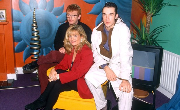 Chris Evans, Gaby Roslin and Mark Lamarr on 'Big Breakfast'