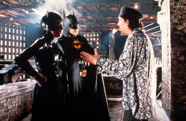 Director Tim Burton on the set of 'Batman Returns' (1992) with cast Michael Keaton and Michelle Pfeiffer