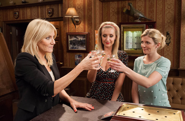 Stella, Eva and Leanne share a drink together