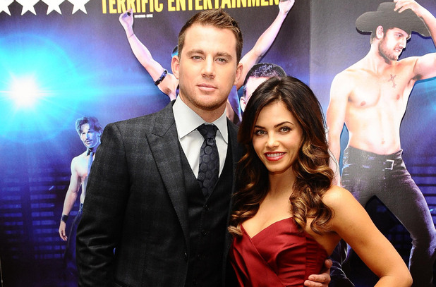 Channing Tatum and his wife Jenna Dewan arriving at a special film screening of Magic Mike at the Mayfair Hotel, London