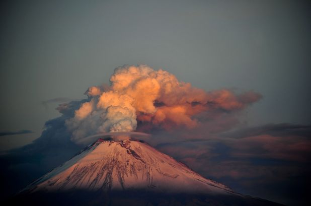 Popocatepetl volcano growing more active, near Puebla, Mexico