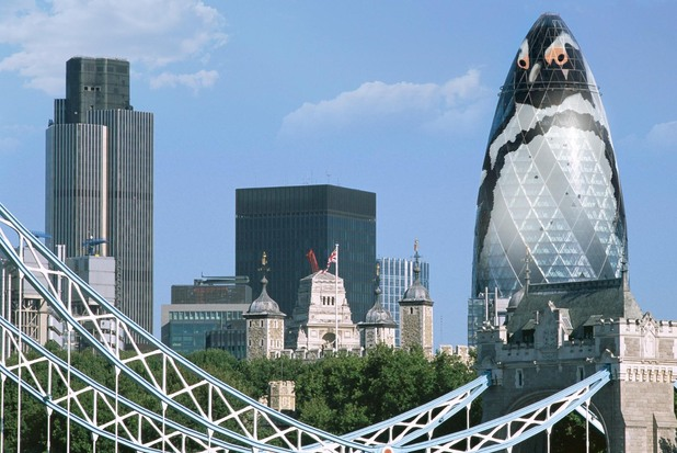 Artist's impression of plans to transform London's Gherkin building into The Penguin