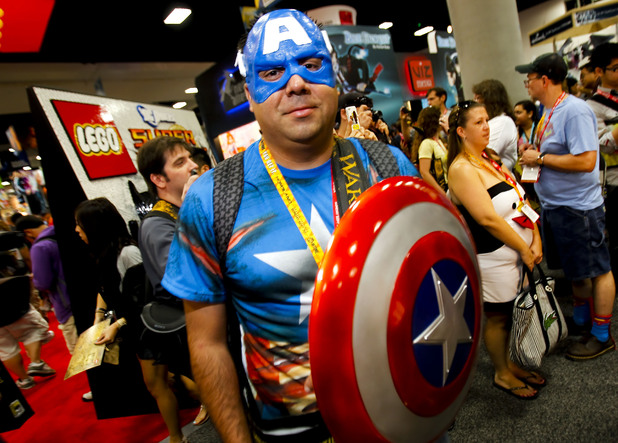 Fan dressed as Captain America