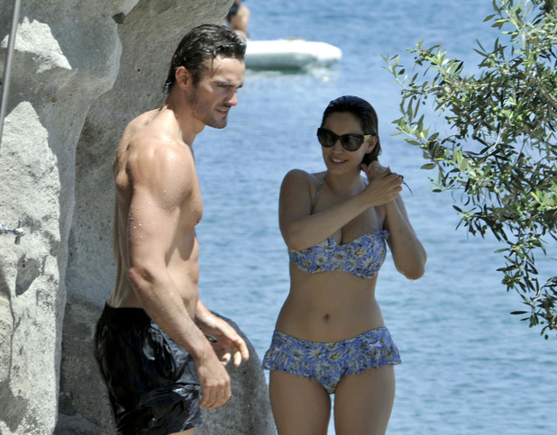 Kelly Brook and Thom Evans in swimwear
