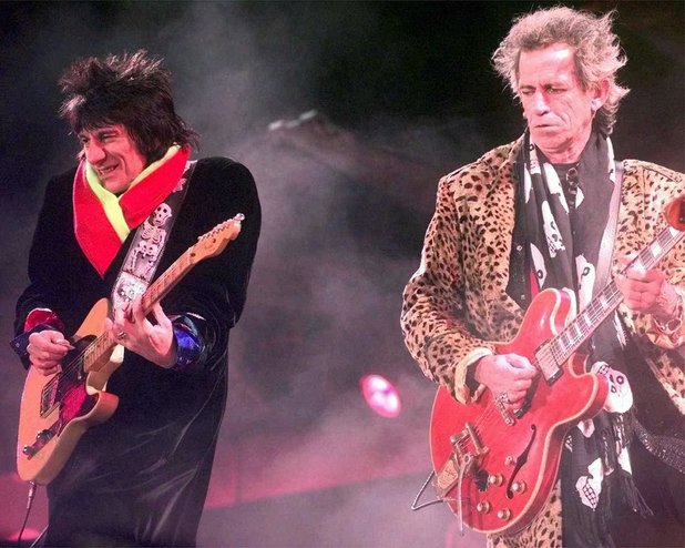 Rolling Stones guitarists Ron Wood, left, and Keith Richards perform at Jack Kent Cooke Stadium Thursday, October 23, 1997