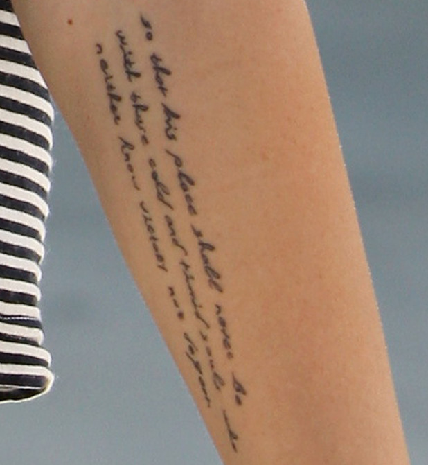 Miley Cyrus's tattoo as she leaves pilates in Studio City Los Angeles, California