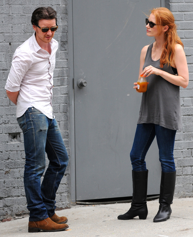 Jessica Chastain and James McAvoy on the set of their new movie <em>The Disappearance of Eleanor Rigby</em>.