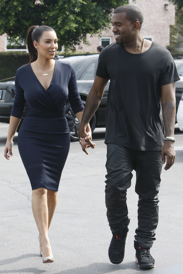 Kim Kardashian and Kanye West out to lunch in Beverly Hills.