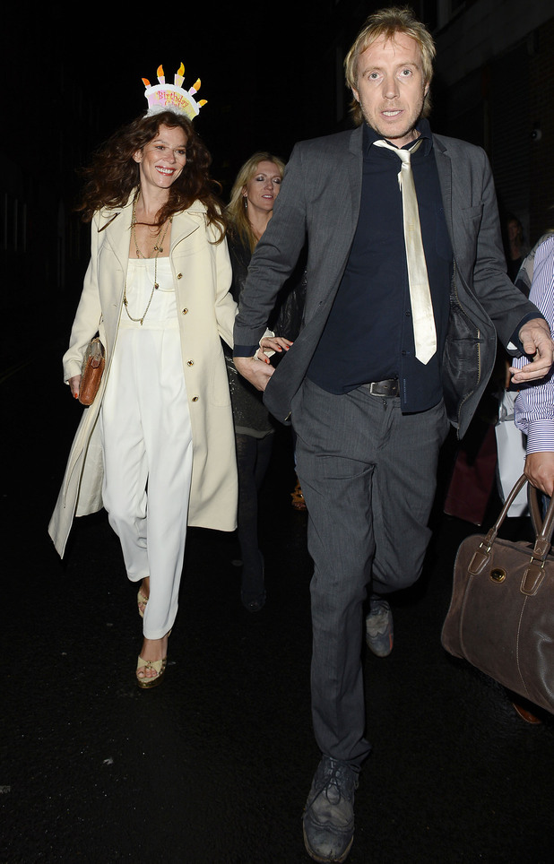 Anna Friel celebrates her birthday in London with Rhys Ifans. 