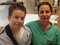 Access Hollywood Live presenter undergoes surgery for a broken clavicle.
