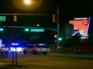 Screenshot of emergency services at the scene of shootings at the Batman move premiere in Colorado