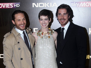 Tom Hardy, Anne Hathaway and Christian Bale at the UK premiere of &#39;The Dark Knight Rises&#39;