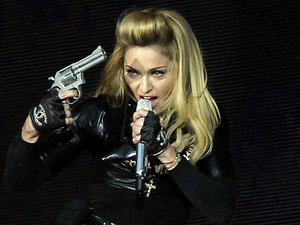 Madonna performs on stage in Hyde Park, London as part of her MDNA album tour