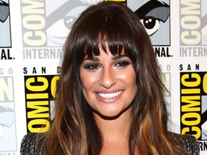 Actress Lea Michele poses in the press room at the &#39;Glee&#39; event during Comic-Con 2012 in San Diego