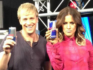 Caroline Flack posted this image of herself with Kian Egan from Westlife with the caption 'My bootcamp co host! Serious stuff.'