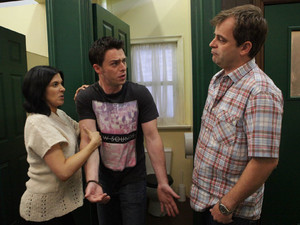 Michelle and Steve head into the toilets at the Rovers where they catch Ryan snorting coke and drag him out into the pub