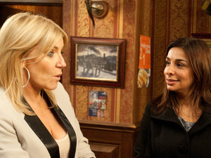 When Sunita fights Karl's corner, telling Stella he won't be signing over the pub, Stella points out to Sunita that Karl is now hers and so are his debts