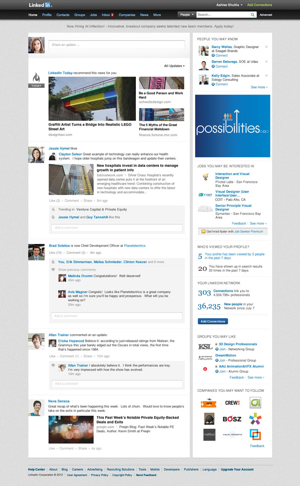 LinkedIn Facebook-style homepage redesign