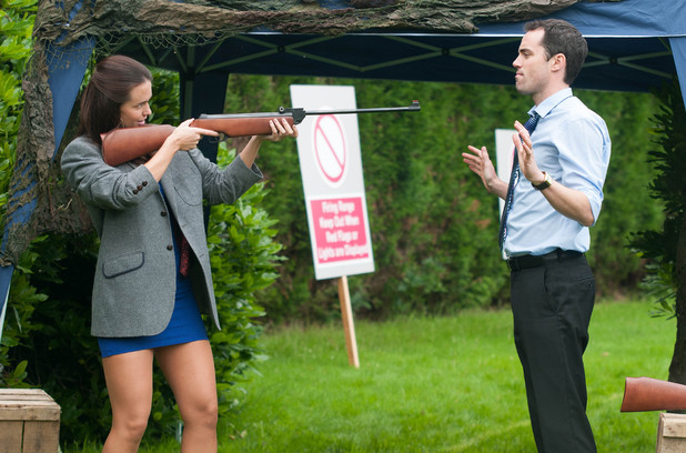 Dr Browning and Mercedes at the shooting range.