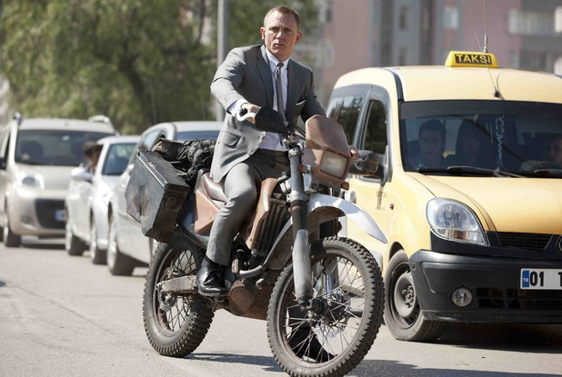Daniel Craig as James Bond on a Honda motorbike in Turkey