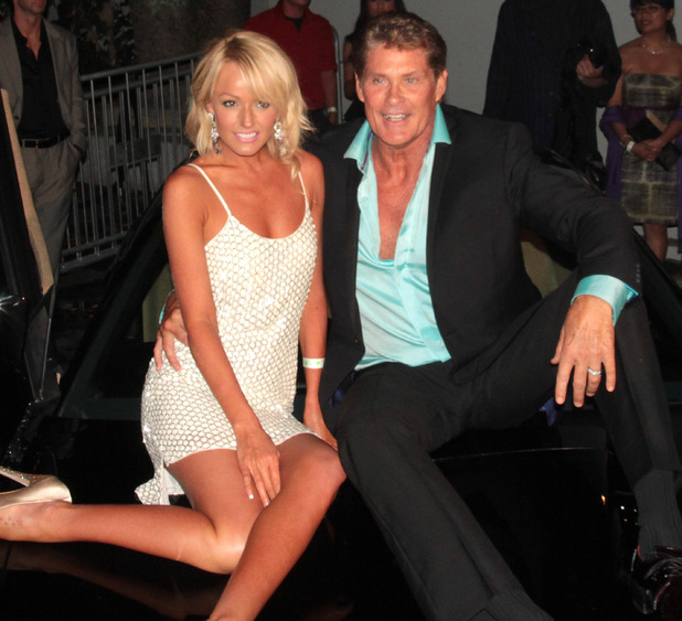 David Hasselhoff and Hayley Roberts with friends outside Greystone Manor.