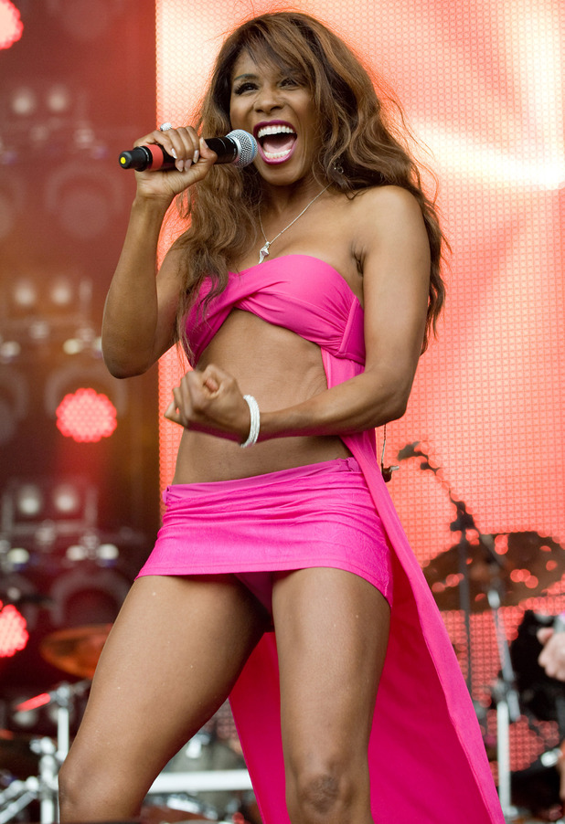 Sinitta performing some of her hits on stage at the Rewind Festival, Scotland.