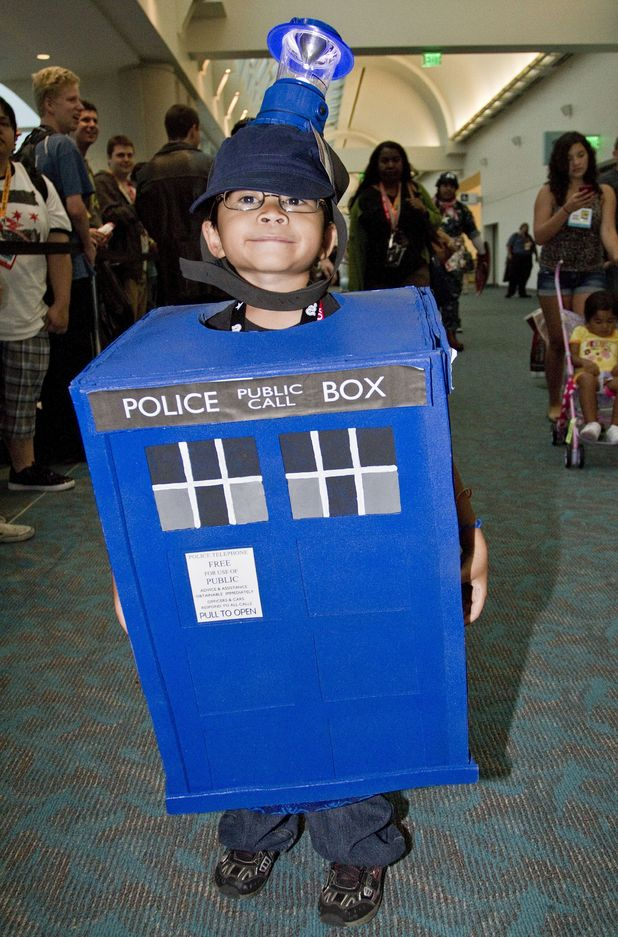 Fan dressed as a phonebox