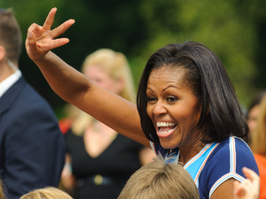 Michelle Obama in the UK as the lead of the US Olympic delegation - taking part in 'Let's Move!', an event for the families of US Military personnel (27 July)