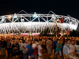 Crowds leave the Olympic Stadium at the Olympic Park in Stratford, east London, following the dress rehearsal for the Opening Ceremony for the London 2012 Olympic Games.