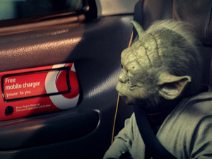 Yoda with a Vodafone cab charger
