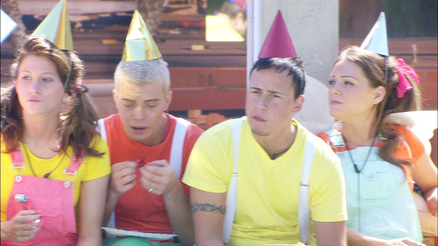Big Brother 2012 - Day 50: Ashleigh, Scott, Luke A and Sara during the 'Party Animals' task
