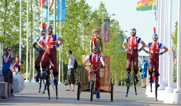 Performers during the Welcome Ceremony at the Athletes Village, Olympic Park, London.