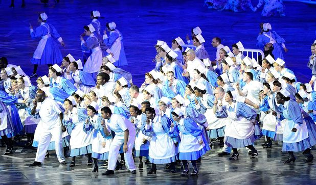 Nurses and patients performing at the Opening Ceremony